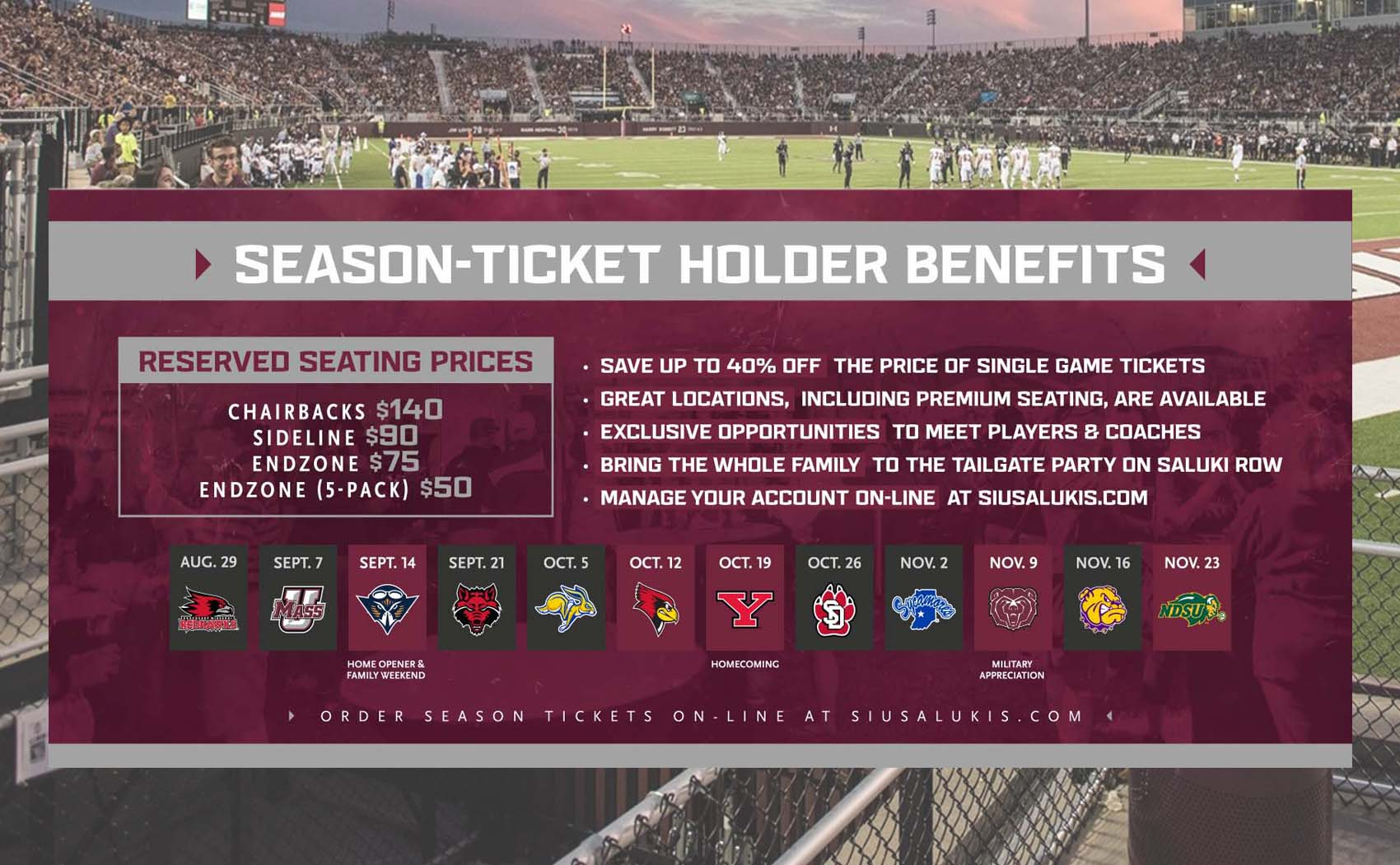 Siu Football Schedule 2020 Saluki Athletics announces 2019 Football schedule and reduced